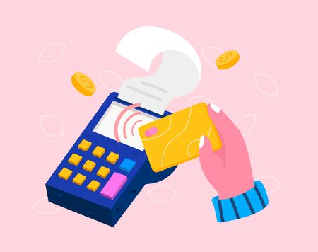 Isometric pos terminal with hand holding bank debit or credit card. Contactless payment concept, point of sale payment machine, NFC chip technology. Colorful modern vector illustration  イラスト・ベクター素材
