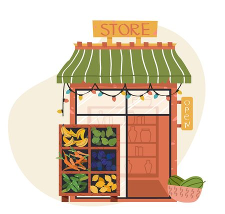 Shop or store facade, market vegetable and fruits. Flat vector icon representing small building with awnings and shelving with goods  イラスト・ベクター素材
