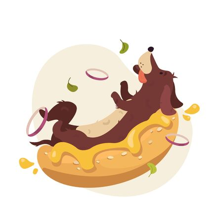 Hot Dog Cartoon Character. Dachshund puppy, being wrapped by bun roll with yellow mustard on top. Funny vector illustration isolated on white background  イラスト・ベクター素材