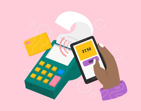 Wireless payment with Mobile phone with NFC technology. Hand holding smartphone with pay app near POS terminal. Vector illustration Reklamní fotografie - 135500823