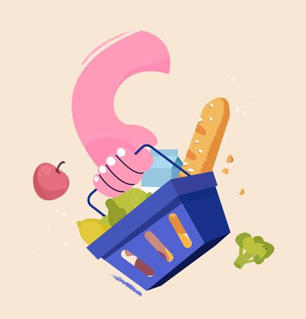 Hand holds shopping basket full of fresh produce. Buy grocery in the supermarket. Goods products into blue container. Modern flat vector illustration