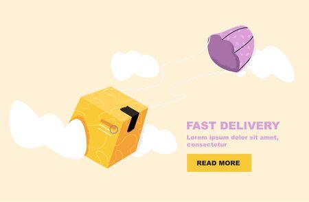 Webbanner für Lieferdienste und E-Commerce. Paket sind Fliegen am Fallschirm. Logistik und Transport, Umzugskonzept, Warentransport, Distribution. Isolierte Vektorillustration Vektorgrafik