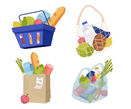Set of various shopping bags filled with goods. Food basket, paper and plastic packages, string bag. Vector illustration  イラスト・ベクター素材