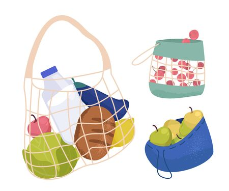 Set of Mesh eco bags full with various products. String bag, Pack of reusable organic shopper. Flat Vector illustration Isolated  イラスト・ベクター素材