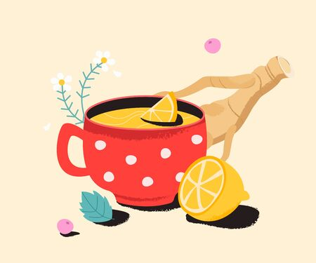 Tea with lemon, ginger and camomile. Cold medicine cure for sore throat, flu. Remedy natural, homeopathic and medical herbs.