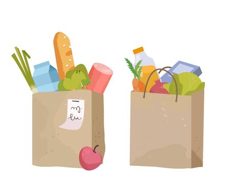 Paper bag, package with food and drink products. Vegetables, bread, dairy products. Vector flat design illustration
