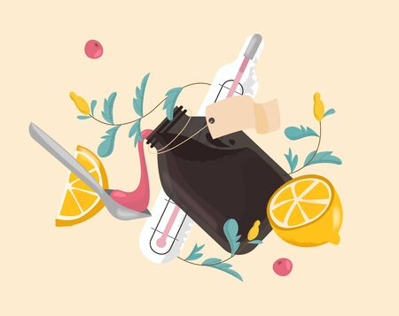 Flu and cold remedies. Remedy natural, homeopathy. Pouring into spoon from bottle of medicine syrup, herbs and lemon. Vector illustration  イラスト・ベクター素材