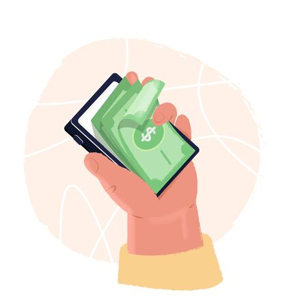 Mobile online payments concept. Human hand holds smartphone with dollar bills. Isometric electronic bill, financial transaction, mobile banking.