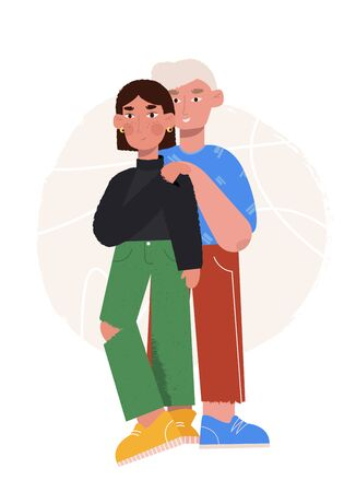 Couple in love. Happy man and woman hugging, gentle touch and smile. Portraits of loving guy and girl. Vector illustration in flat cartoon style  イラスト・ベクター素材