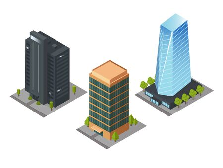 Isometric skyscrapers, roads, and trees. Set of buildings and modern apartments. Vector isolated illustration, 3D
