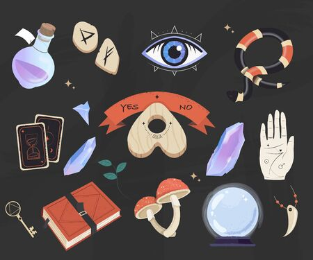 Mystic, esoteric and occult set - planchette, book, palmistry hand, crystal ball, bottle potion and tarot flat vector isolated. Witchcraft symbols. Magic items collection.