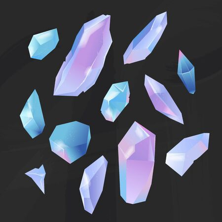 Set of crystals opal stones. Minerals, gems, and diamonds of different forms on a black background. Isolated vector  イラスト・ベクター素材