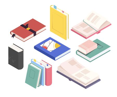 Set of isometric book, notebooks from different angles: stack, open textbooks. Vector illustration on a white background