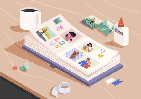 Open photo book on the wooden table. Sorting and attaching photo to pages of photographic album. Family memories. Cartoon vector illustration.  イラスト・ベクター素材