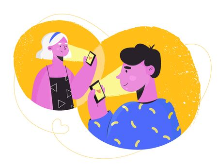 Online dating and social networking, virtual relationships concept. Young people looking for a couple. Man and woman are holding a telephone and meeting online. Vector illustration, flat style.  イラスト・ベクター素材