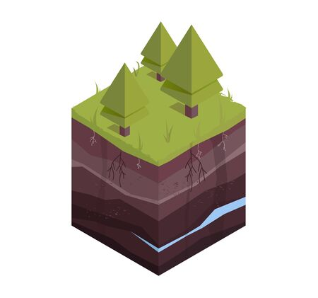 Underground layers of earth, groundwater, layers of grass. Cross section subterranean landscape. Isometric vector illustration. Illustration