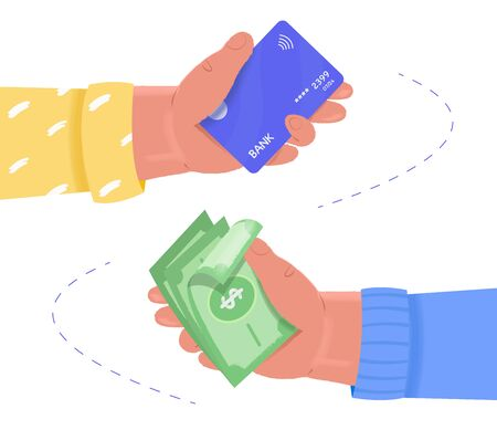 Online payment, exchange concept. Human hands hold plastic card and dollar money. Money transfer. Vector flat illustration