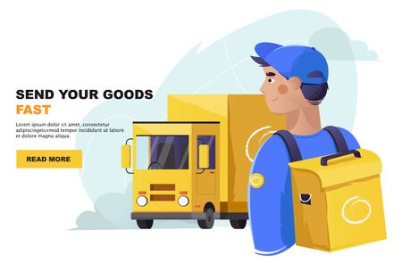 Delivery courier man with bag with delivery truck on background. Delivery concept. Vector illustration in a flat style  イラスト・ベクター素材