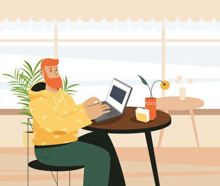 Man Freelancers Working in Cafe. Online Career or Online Education. Flat Cartoon Vector Illustration.