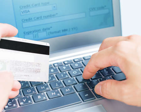 Credit card on-line betalingen via internet Stockfoto