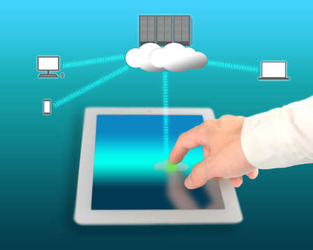 businessman use network device for connecting to cloud computing service Stock Photo - 22023430