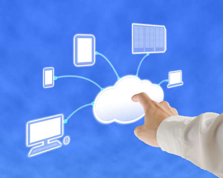 Businessman touch cloud computing server for launch with sky background Stock Photo - 22410871