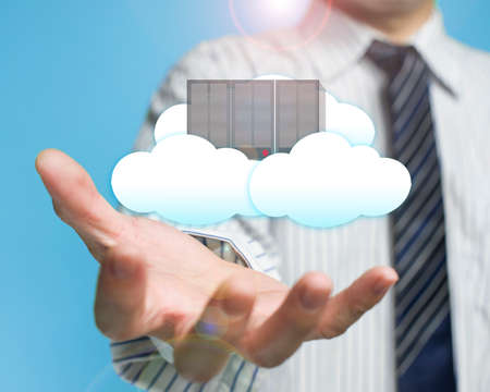 cloud transfer: palm opening businessman with cloud and server cloud computing service concept
