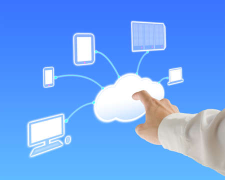 Businessman touch cloud computing server for launching service in blue background photo