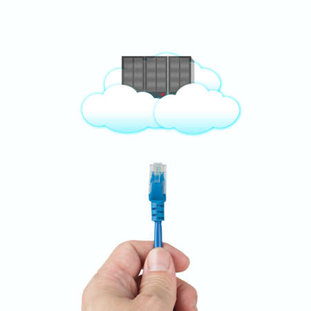 Cloud computing concept, officeman hold cable connect to clouds server in white background