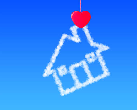 Red heart shape clothespin cloud house in blue sky Stock Photo