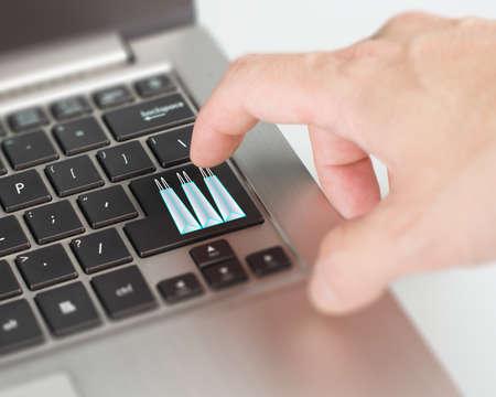 dealing: Push laptop shopping bag button online dealing and shopping concept