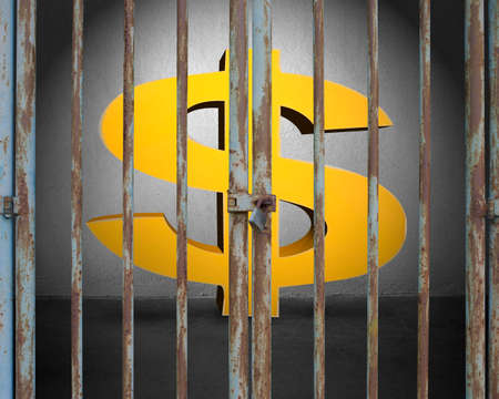 incarcerate: Locked door with lighting and golden money symbol in gray concrete wall background