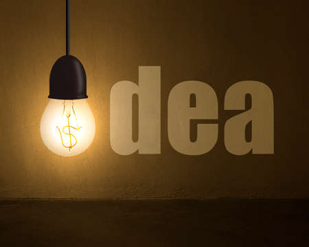 Glowing lamp with money symbol and idea word on concrete wall in dark space photo