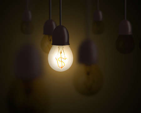 Idea is money concept, lighting bulb with money symbol inside and unlighting others in dark space photo