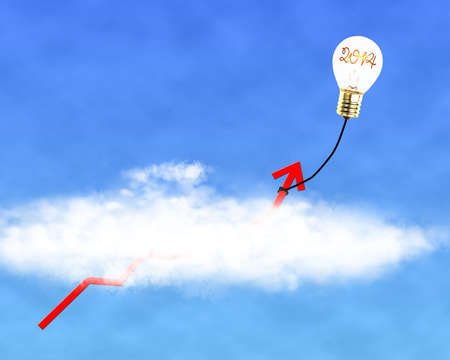 assumption: Glowing lamp balloon with 2014 inside hanging growth red arrow flying through cloud in the sky