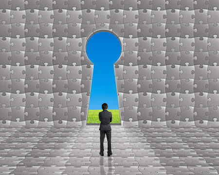 key hole shape: Businessman stand toward key hole shape door on puzzles wall with green meadow and clear blue sky