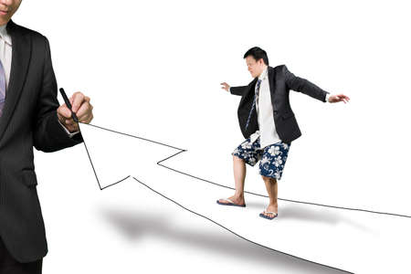 Businessman drawing road with growth arrow the other surfing toward, in white background photo