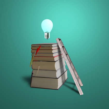Glowing bulb on top of stack books with ladder in green background