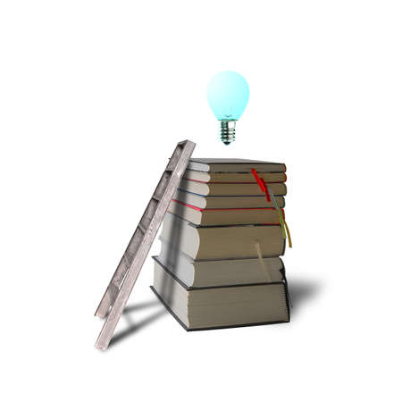 Glowing bulb on top of stack books with ladder in white background Stock Photo