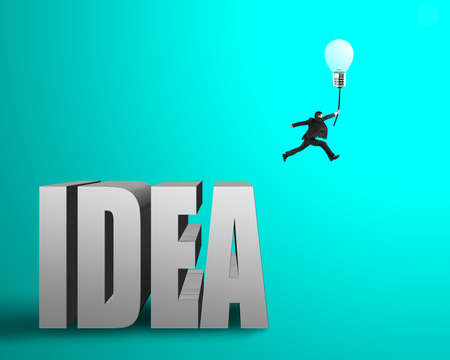 Businessman jumping from idea concrete word to catch glowing lamp balloon