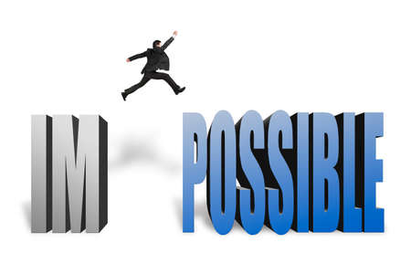 infeasible: Businessman jumping to possible from im, make it possible in white background Stock Photo