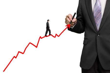 Businessman drawing growth red arrow and another walk on it, white background photo
