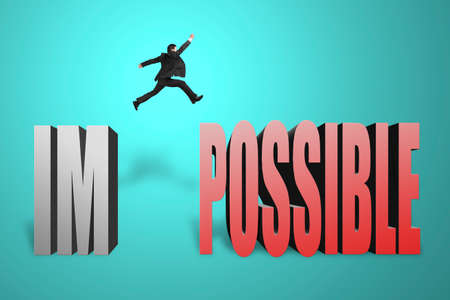infeasible: Businessman jumping to possible from  im , make it possible in green background Stock Photo