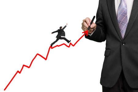 Businessman drawing growth red arrow and another jumping on it, white background