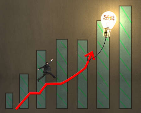 Businessman jumping on growth red arrow with bar chart and glowing lamp balloon on concrete wall background