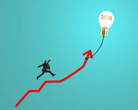 Businessman running on growth red arrow with glowing lamp balloon in green background