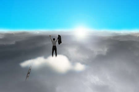 Businessman standing on cloud with cloudy below and blue sky, sunlight photo