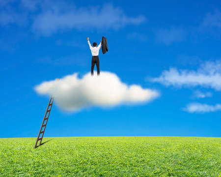Cheered businessman standing on cloud with meadow and blue sky background