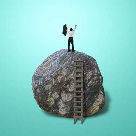 Cheered businessman climb on top of large rock