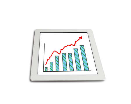 Growth red arrow and chart on tablet isolated in white